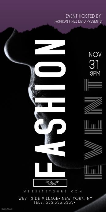 Classy Bold Fashion Event Banner Spanduk Gulir Atas 3' × 6' template