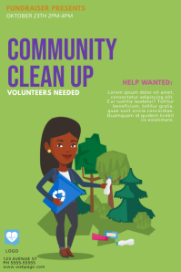 Clean up day earth day flyer template