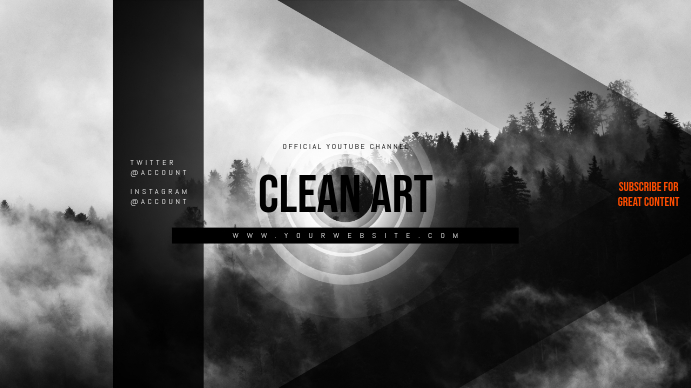 Clean V2 Youtube Channel Art Banner Template | PosterMyWall
