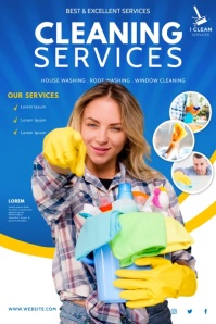cleaning service, spring cleaning 海报 template