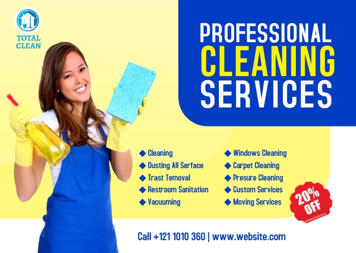 Cleaning Service Ad Kartu Pos template