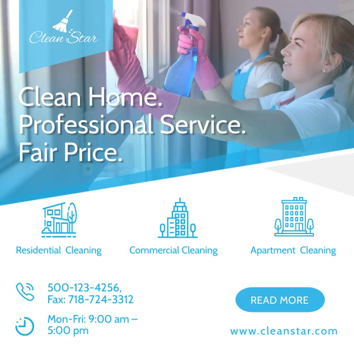 Cleaning Service ad social mediatemplate