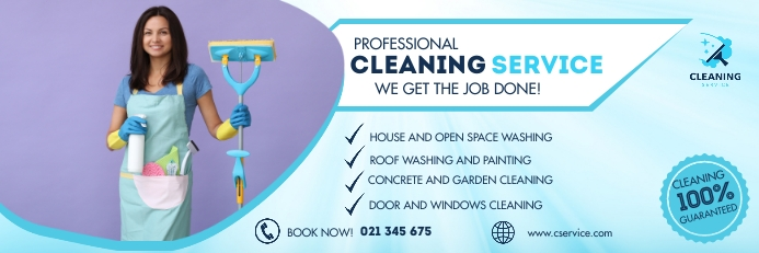 Cleaning service banner Баннер 2 фута × 6 футов template