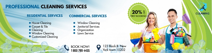 Cleaning service banner Баннер 2 фута × 8 футов template