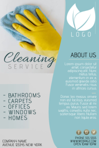 cleaning service flyer template blue