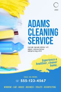 cleaning service business flyer template pink