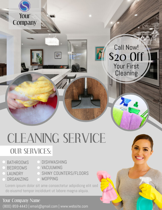 cleaning service Volantino (US Letter) template