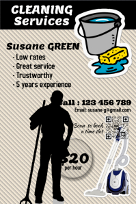 Cleaning Service Flyer with appointment QR code