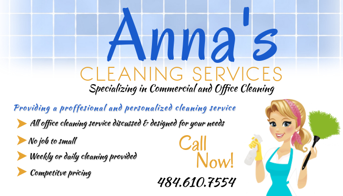 Commercial Cleaning Service Business Card Template |Commercial Cleaning Cards