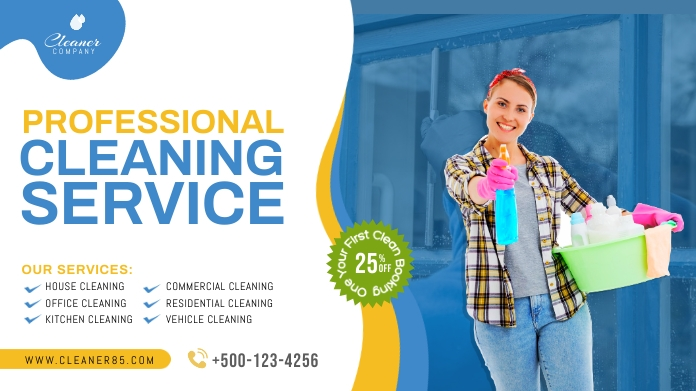 Cleaning service promotion twitter post Iphosti le-Twitter template