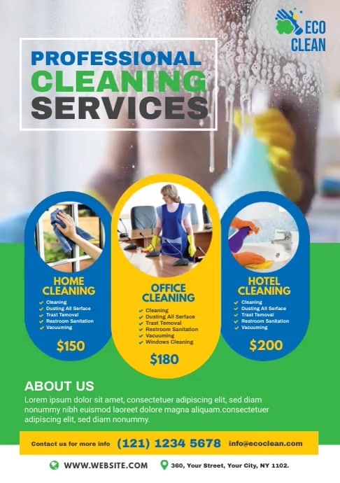 Cleaning Service Video Ad A4 template