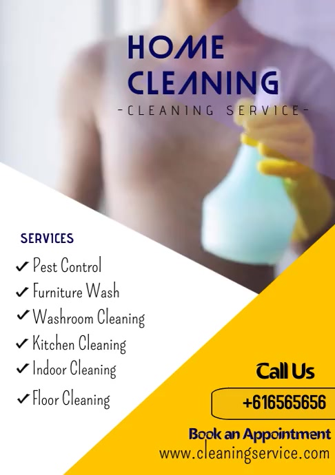 Cleaning Service Video Flyer A4 template