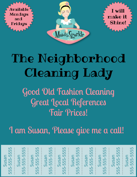 Cleaning Service with Tear Off Tabs