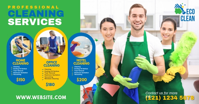 Cleaning Services, Cleaning, Home Cleaning Image partagée Facebook template