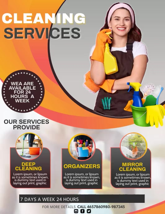 cleaning services, spring cleaning Flyer (US Letter) template