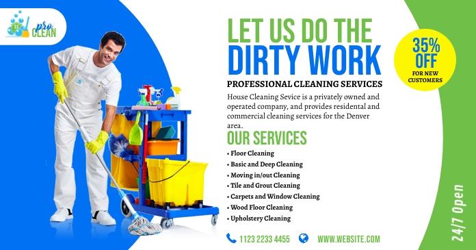 Cleaning Services Ad รูปภาพที่แบ่งปันบน Facebook template