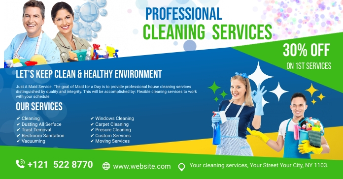 Cleaning Services Ads Umkhangiso we-Facebook template