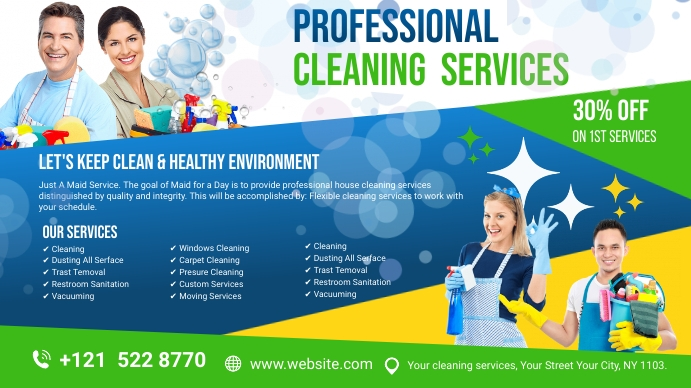 Cleaning Services Ads Ekran reklamowy (16:9) template