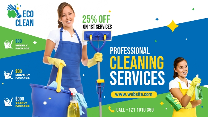 Cleaning Services Ads Pos Twitter template
