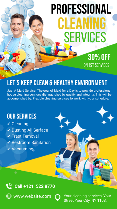 Cleaning Services Ads Ekran reklamowy (9:16) template