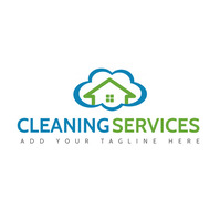 cleaning services blue and green colors cloud Logo template