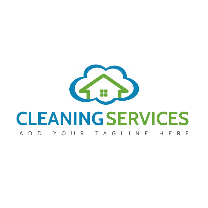 cleaning services blue and green colors cloud Ilogo template