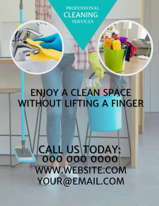 Cleaning Services Video Flyer Template Pamflet (Letter AS)