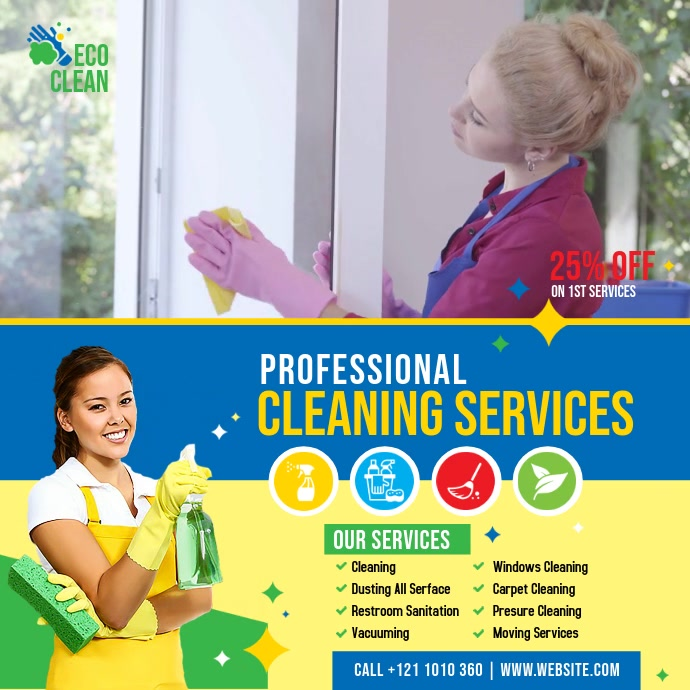 Cleaning Services Video Template Квадрат (1 : 1)