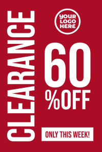 Clearance 60% off sales red retail poster template