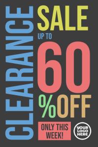 Clearance sale 60% off deals store poster Cartaz template