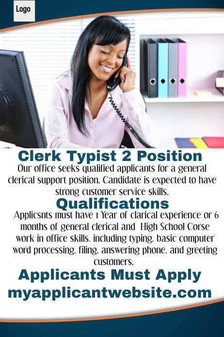 clerk typist 2 employment opportunity template postermywall
