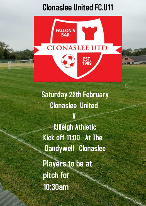 Clonaslee United FC A6 template
