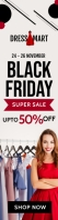 Clothes Black Friday sale web ad Szeroki transparent pionowy template