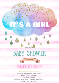 Cloud baby shower invitation