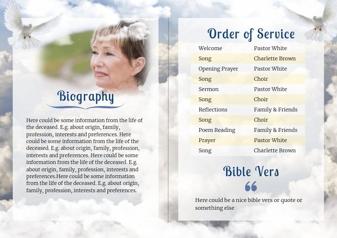 Clouds - Funeral Brochure- 2 A4 template