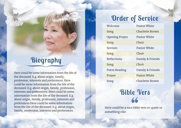 Clouds - Funeral Brochure- alternative A4 template