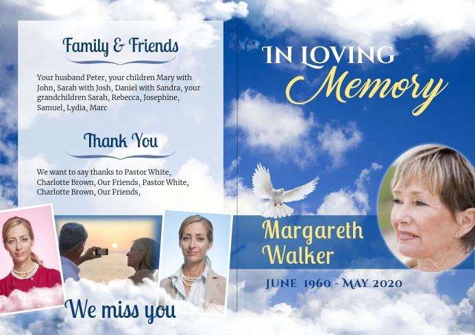 Clouds- Funeral Program Brochure 1 A4 template