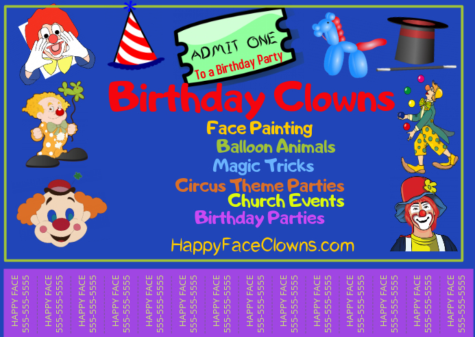 Clown Advertisement Tear-Off Postkort template