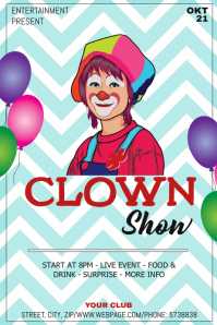 Clown show party event flyer template