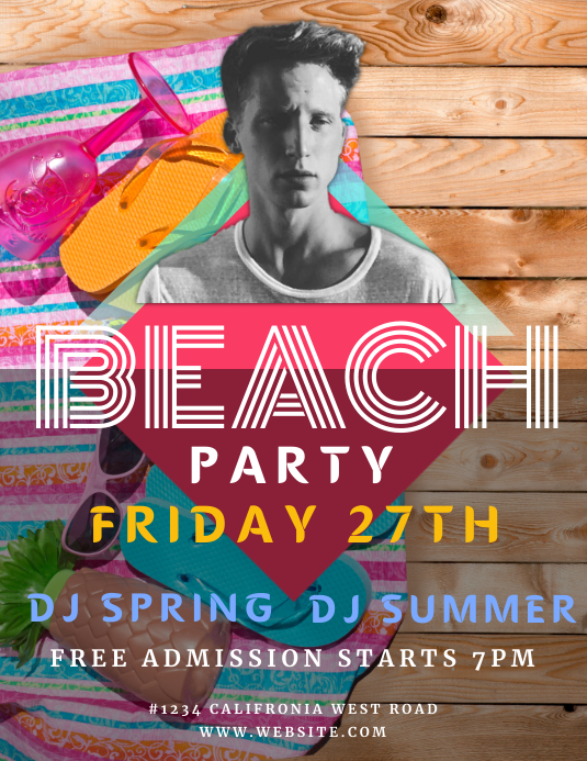 CLUB BEACH PARTY EVENT flyer template