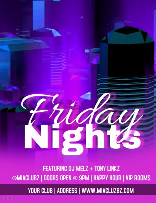Club Flyers Neon Friday Nights Video Flyer Folder (US Letter) template