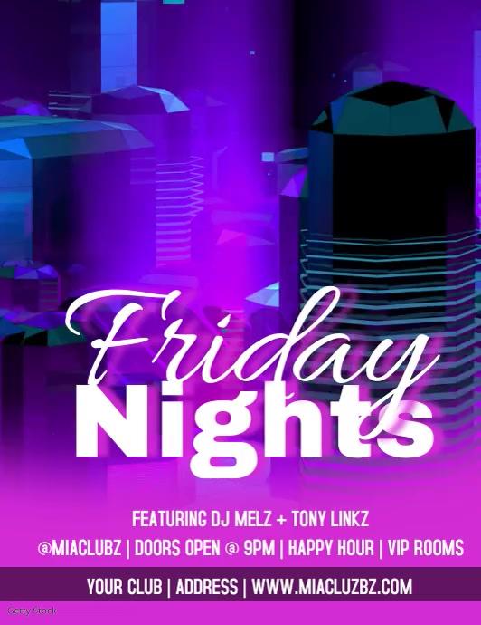 Club Flyers Neon Friday Nights Video Flyer Volante (Carta US) template