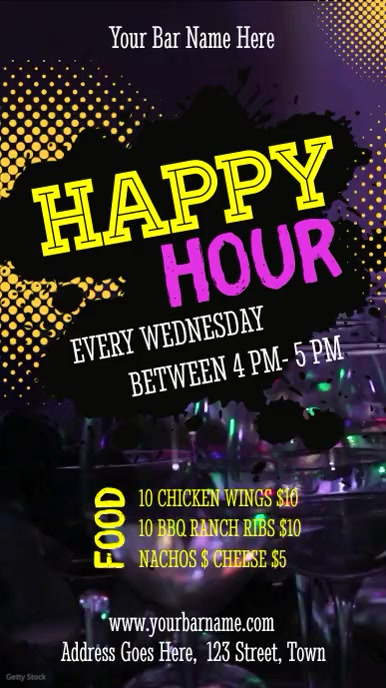 Club Happy Hour Ad Digital Display Video Template