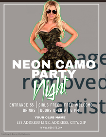 Club Neon Camp party Night ad Flyer Template
