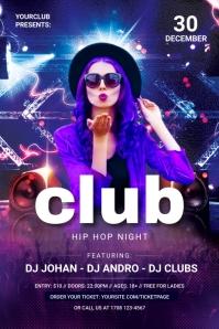Club Night Banner แบนเนอร์ 4' × 6' template