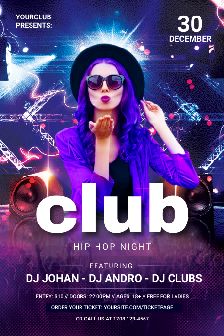 Club Night Banner Cartel de 4 × 6 pulg. template