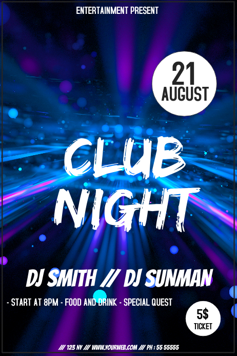 Club night event party flyer template 海报