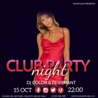 CLUB NIGHT EVENT PARTY VIDEO Flyer template Instagram-bericht