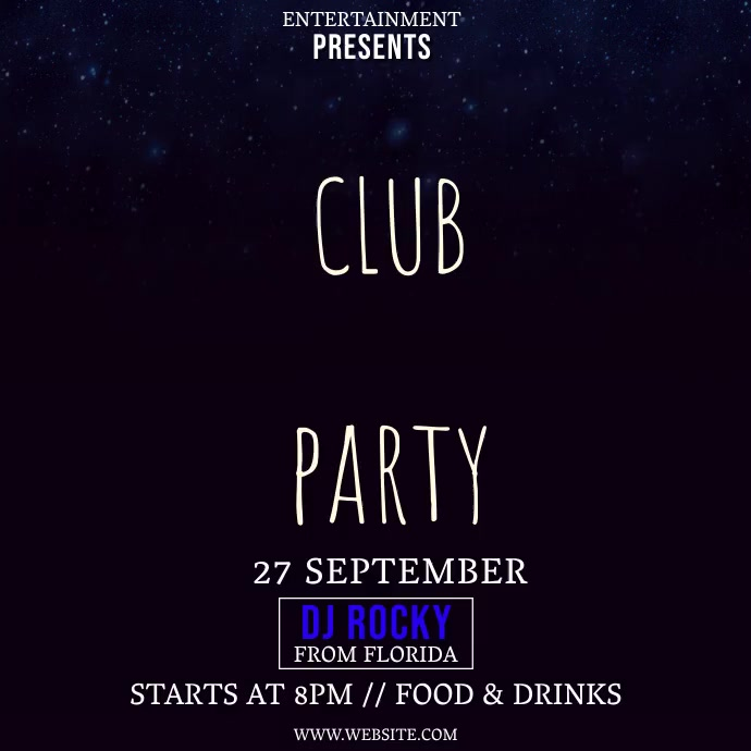 CLUB PARTY AD INVITE VIDEO Flyer Template Instagram-bericht