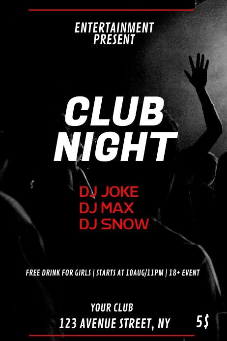 Club party flyer template 海报